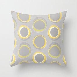 Solar Eclipse MCM Gray-Yellow Throw Pillow