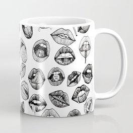 Hand Drawn Luscious Lips in Black and White Coffee Mug