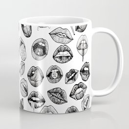 Hand Drawn Luscious Lips in Black and White Coffee Mug