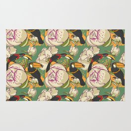 Seamless floral background with peonies bird toucan Rug