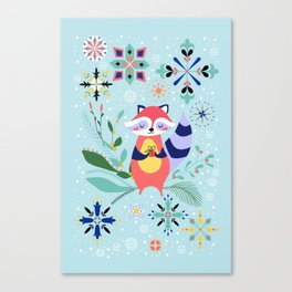Happy Raccoon Card Canvas Print