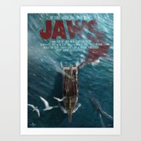 jaws Art Prints featuring Jaws by Andy Fairhurst Art