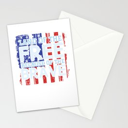 Land Of The Free Because Of The Brave Patriotic Stationery Cards