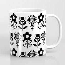 Three Flowers in Black Coffee Mug