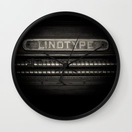 Linotype Old Print Machine Black and White Print Wall Clock