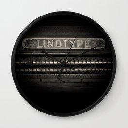 Linotype Old Print Machine Black and White Print Wall Clock