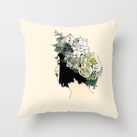 geisha Throw Pillows featuring Geisha by Hypathie Aswang