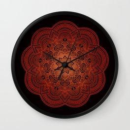 orange burst hippie boho mandala Wall Clock
