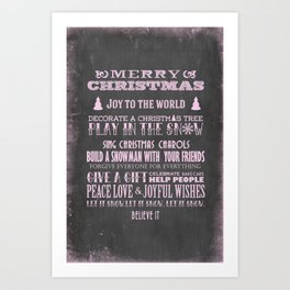 Pink Christmas Chalkboard Typography Quotes Art Print