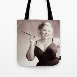 """Of Corset Darling"" - The Playful Pinup - Vintage Corset Pinup Photo by Maxwell H. Johnson Tote Bag"