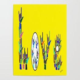 ASL LOVE HANDS TYPOGRAPHY Poster