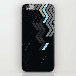 Deconstructed Chevron C – Gray / Gold / Blue Abstract Pattern iPhone Skin