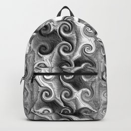 Black White Seamless Wave Spiral Abstract Pattern Backpack