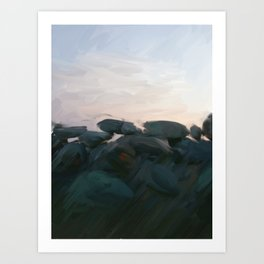 Stone Fence at Dusk Art Print