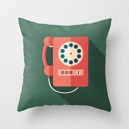 Retro Payphone Throw Pillow