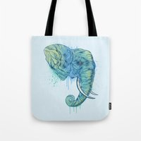 elephant Tote Bags featuring Elephant Portrait by Rachel Caldwell