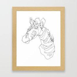 Blind Contour Zebra Framed Art Print