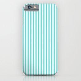 Classic Aqua Blue and White Mattress Ticking Stripes iPhone Case