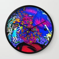 giants Wall Clocks featuring Techno Giants by Jaz The Spaz