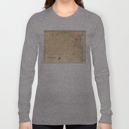 Vintage Map of The Virginia Battlefields (1861) Long Sleeve T-shirt