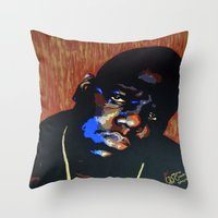 biggie smalls Throw Pillows featuring Biggie Smalls (Notorious BIG) Pop Art by KatCaiArt