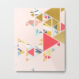 Gold Abstraction, Abstract Eclectic Colorful Geometrical, Blush Pastel Metallic Chic Graphic Design Metal Print