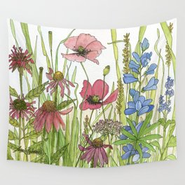 Red Poppy Wildflowers Watercolor Ink  Wall Tapestry
