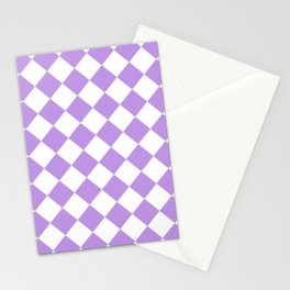 Large Diamonds - White and Light Violet Stationery Cards