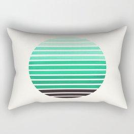 Teal Green Mid Century Modern Minimalist Scandinavian Colorful Stripes Geometric Pattern Round Circl Rectangular Pillow