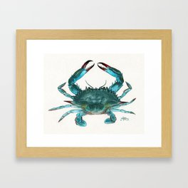 """""""Blue Crab"""" by Amber Marine ~ Watercolor Painting, Illustration, (Copyright 2013) Framed Art Print"""