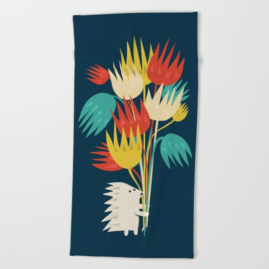 Hedgehog with flowers Beach Towel