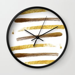 Stylish faux gold foil stripes brushstrokes Wall Clock