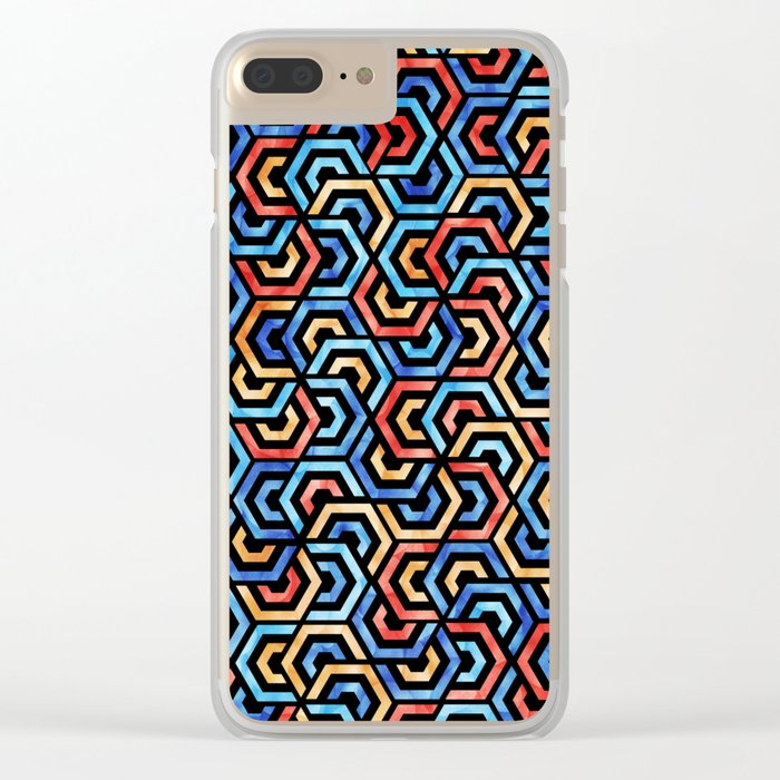 Seamless Colorful Geometric Pattern XXXI Clear iPhone Case