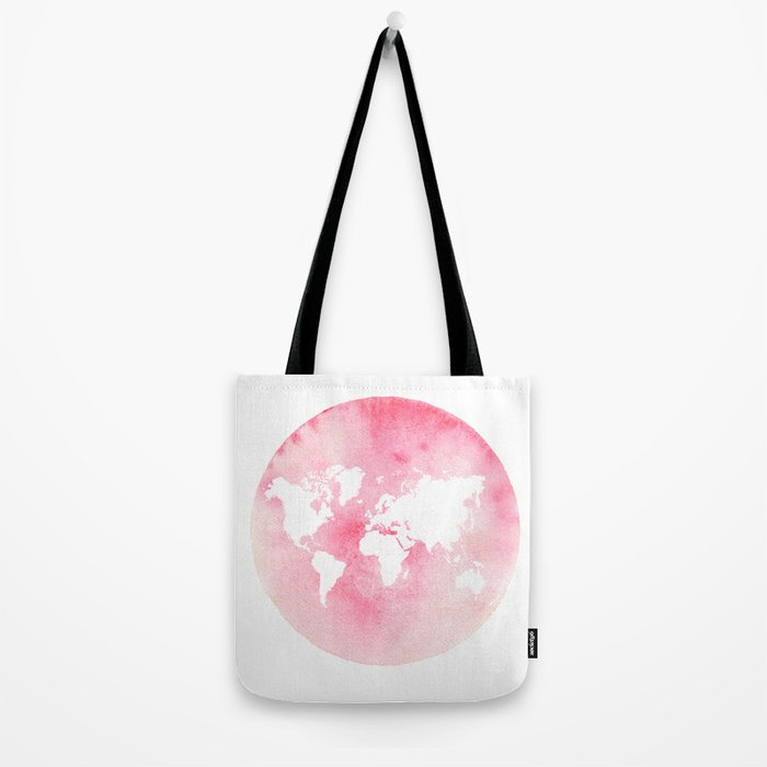Pink world map Tote Bag