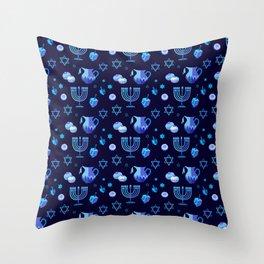 Happy Hanukkah Festival Holiday Decoration JUDAICA Throw Pillow