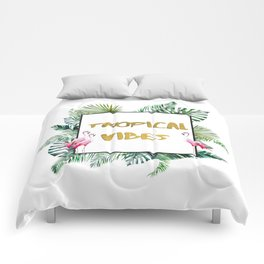 Aloha - Tropical Vibes Typography with Palm Leaves and Flamingo Comforters