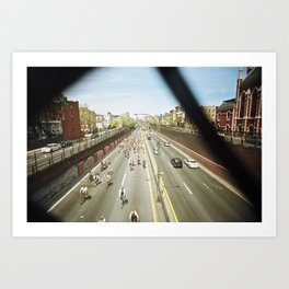bike race under the highway overpass Art Print