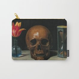Life, Death, & Time; still life portrait painting with a Skull and Tulip by Philippe de Champaigne Carry-All Pouch
