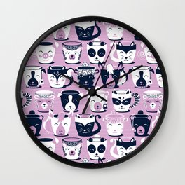 Cuddly Tea Time // white navy & light orchid pink animal mugs Wall Clock