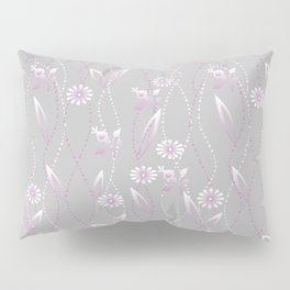 Gray lilac floral pattern . Pillow Sham