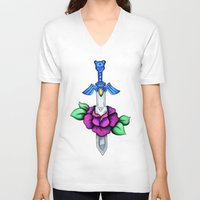 sword V-neck T-shirts featuring Master Sword by creativeesc