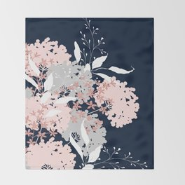 Wildflowers, Floral Print, Navy Blue and Pink Throw Blanket