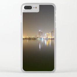Solemn night at the bay Clear iPhone Case