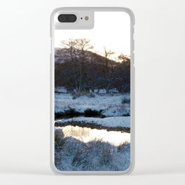 Snow on the hills Clear iPhone Case