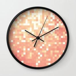 Peach Sparkle Pixels Wall Clock
