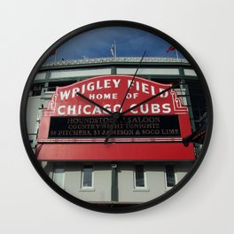 Chicago Wrigley Field Sign Wall Clock