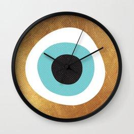 Gold Evil Eye 70s Bohemian Lucky Charm Nazar  Wall Clock
