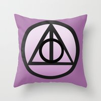deathly hallows Throw Pillows featuring Deathly Hallows by AriesNamarie