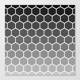 Black and gray gradient honey comb pattern Canvas Print