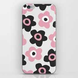 Black and pink flowers iPhone Skin